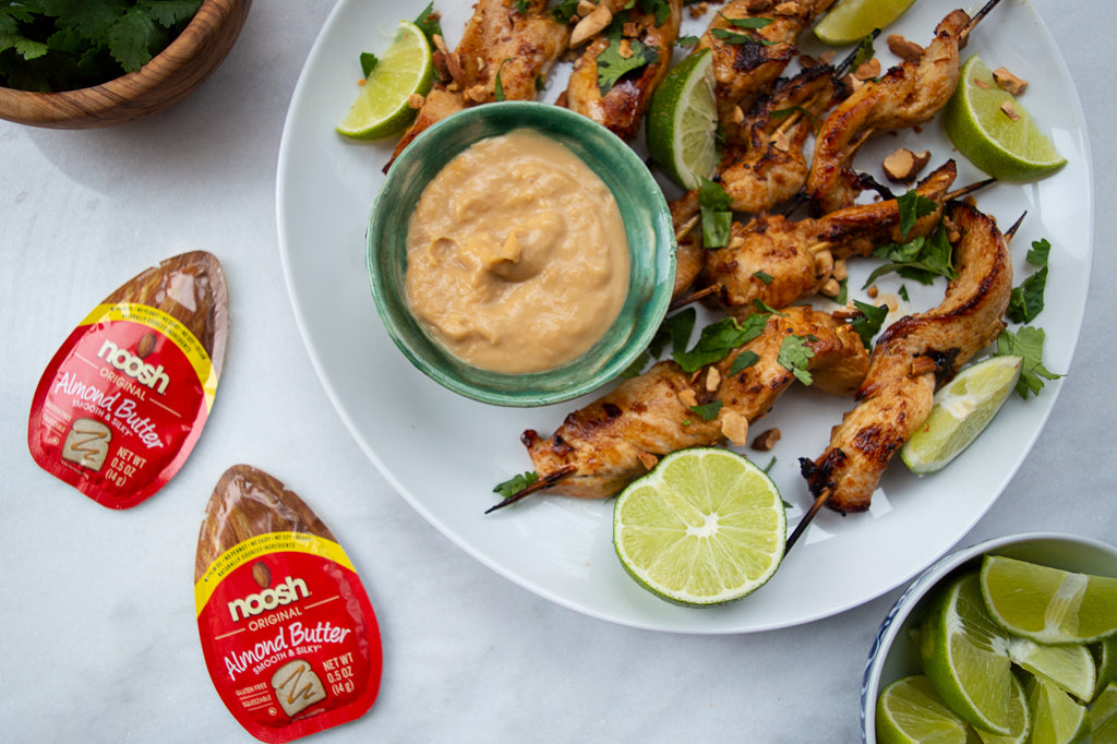 Chicken Satay Skewers with Creamy Almond Butter Sauce