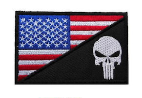 AMERICAN FLAG & PUNISHER EMBROIDERED PATCH