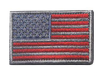 AMERICAN FLAG EMBROIDERED PATCH GRAY & RED