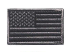 AMERICAN FLAG EMBROIDERED PATCH BLACK & GRAY