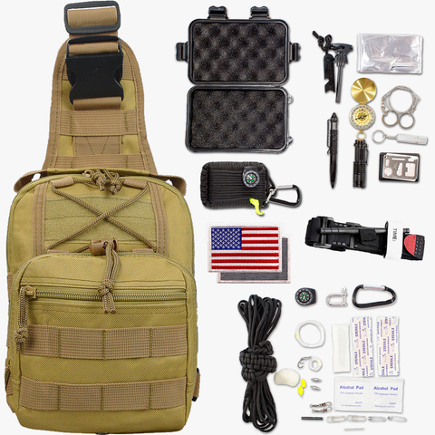 36-Piece Tactical Pack Survival Bundle Kit
