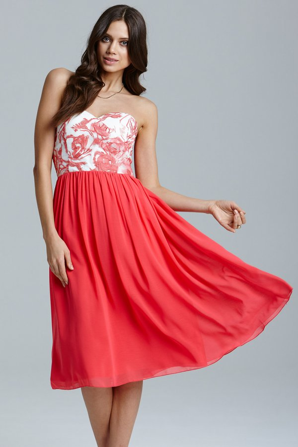 9ff787adf2fd2 Little Mistress Coral and Cream Floral Top Prom Dress Size 10 UK