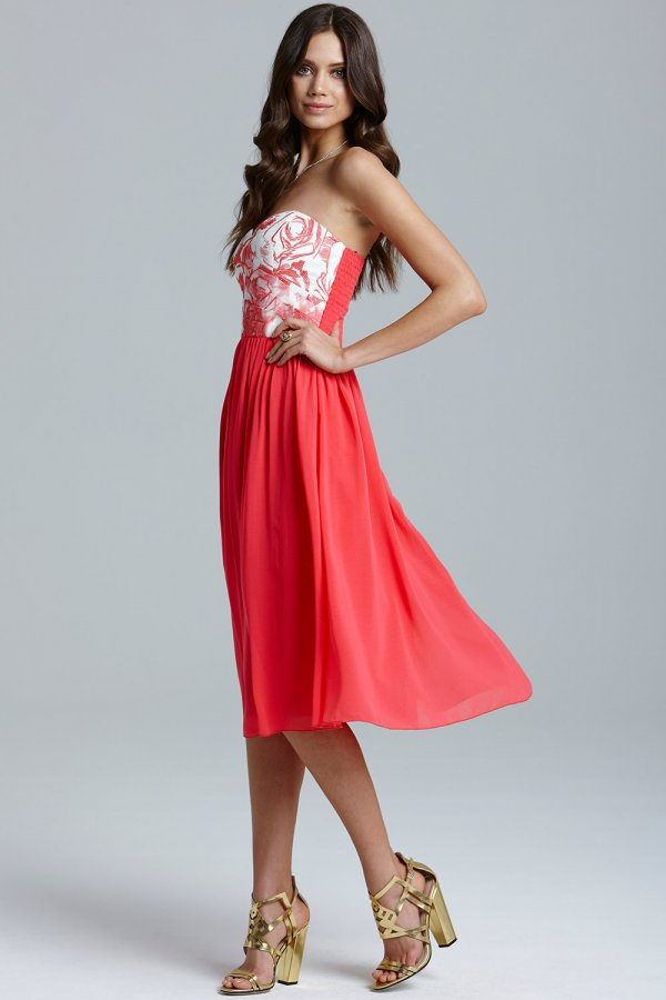 d90c1bff353a6 Little Mistress Coral and Cream Floral Top Prom Dress Size 10 UK ...