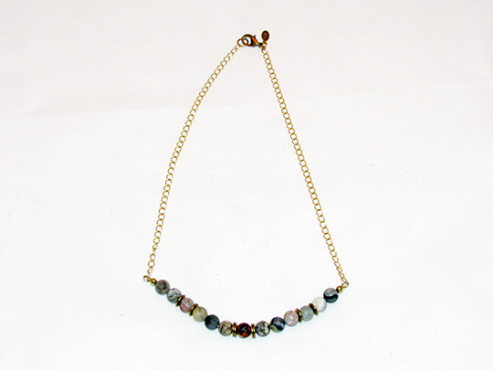 bRE Laguna Lace Agate and Brass Necklace
