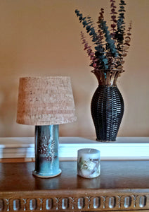 Stoneware Pine Cone Embossed Table Lamp in Blues and Browns - Cat Fly Designs