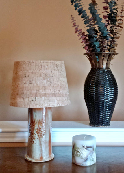 Stoneware Pine Cone Embossed Table Lamp - Cat Fly Designs