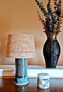 Stoneware Diamond Pattern Embossed Table Lamp in Shades of Blue - Cat Fly Designs