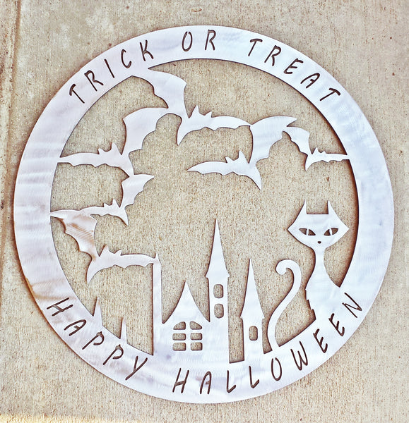Halloween Cat with Bats and Tower Plasma Cut Metal Wall or Door Hanging - Cat Fly Designs