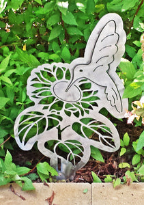 Hummingbird with Flower Metal Art Garden Stake - Cat Fly Designs