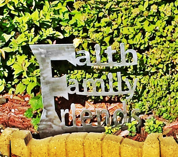 Faith Family Friends Plasma Cut Metal Art Garden Stake - Cat Fly Designs