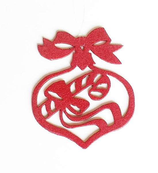 Candy Cane Christmas, Holiday Tree, or Window Metal Ornament - Cat Fly Designs