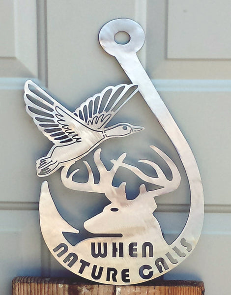 Fish Hook Duck and Deer Plasma Cut Metal Wall Hanging When Nature Calls - Cat Fly Designs