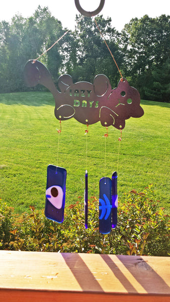 Plasma Cut Metal Cat with Fused Glass Fish Bones Wind Chimes - Cat Fly Designs