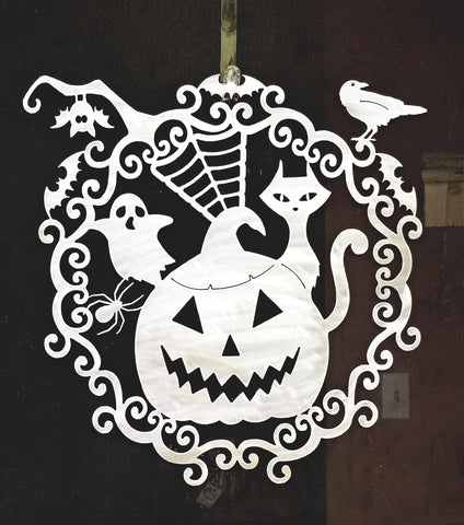 Plasma Cut Metal Halloween Pumpkin Ghost Spider Cat and Raven Door Wreath or Wall Hanging - Cat Fly Designs