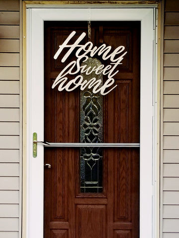 Home Sweet Home Plasma Cut Metal Wall Hanging or Door Wreath - Cat Fly Designs