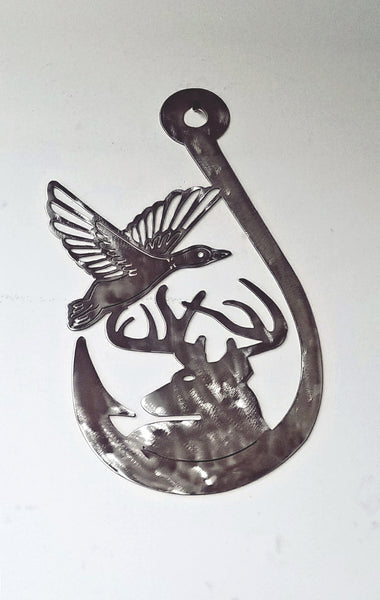 Fish Hook Duck and Deer Plasma Cut Metal Wall Hanging - Cat Fly Designs