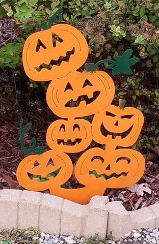 Halloween Pumpkin Plasma Cut Metal Garden Stake - Cat Fly Designs