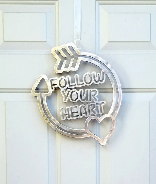 Follow Your Heart Plasma Cut Metal Wall Hanging or Wreath - Cat Fly Designs