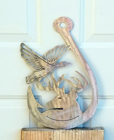 Plasma Cut Metal Fish Hook Deer and Duck Hunting and Fishing Wall Plaque
