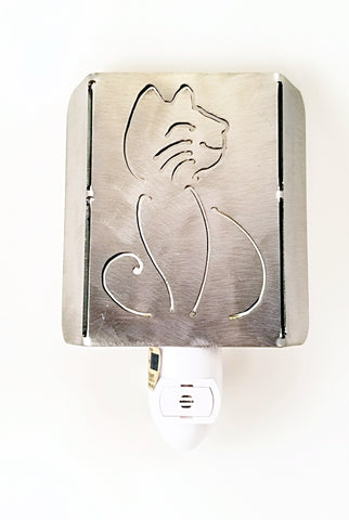 Plasma Cut Metal Happy Cat LED Night Light - Cat Fly Designs