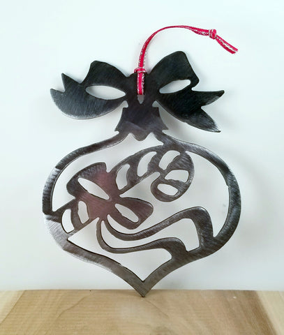 Plasma Cut Metal Candy Cane with Bow Christmas Tree Ornament