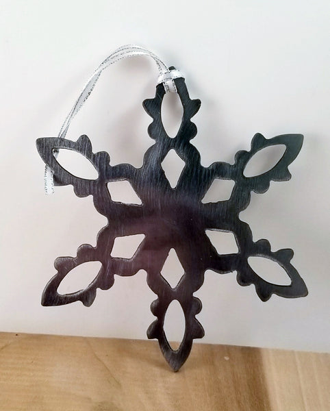 Snowflake Holiday Tree, or Window Metal Ornament - Cat Fly Designs