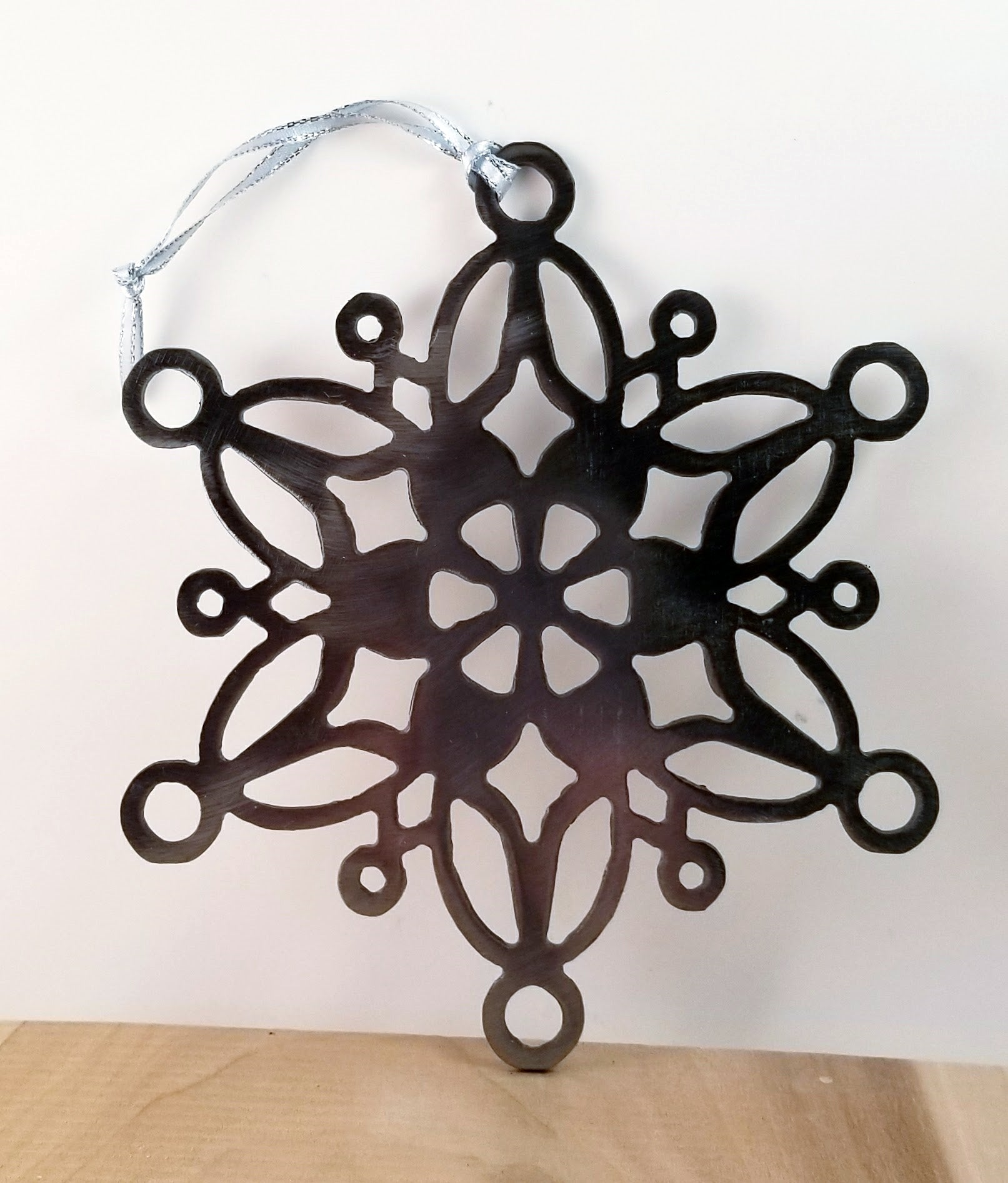 Lace Snowflake, Holiday Tree, or Window Metal Ornament - Cat Fly Designs