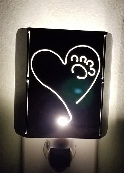 Plasma Cut Metal Heart and Paw LED Night Light - Cat Fly Designs