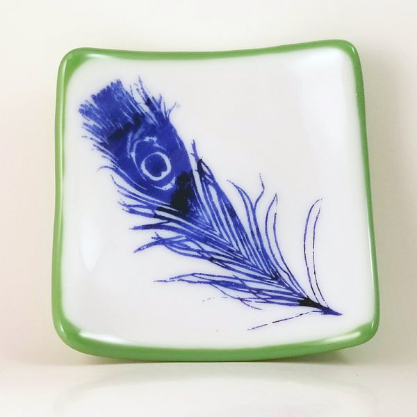 Fused Glass Screen Printed Feather Blue, White and Green Dish - Cat Fly Designs