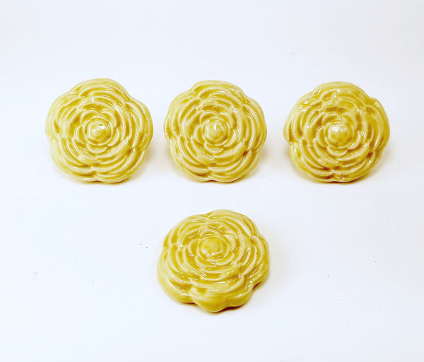 Butter Yellow Stoneware Rose Drawer Pull - Cat Fly Designs