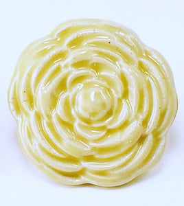 Stoneware Clay Pottery Butter Yellow Rose Drawer Pull