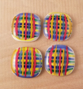 Multi Color Basket Weave Fused Glass Drawer Pull - Cat Fly Designs