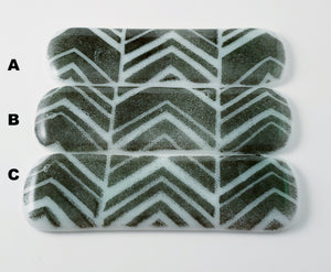 Mint Green and Black Chevron Fused Glass Drawer Pull - Cat Fly Designs