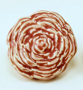 Rose Color Stoneware Rose Drawer Pull - Cat Fly Designs