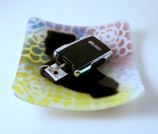 Fused Glass Multi Color Zinnia Flower with Your State Square Dish - Cat Fly Designs