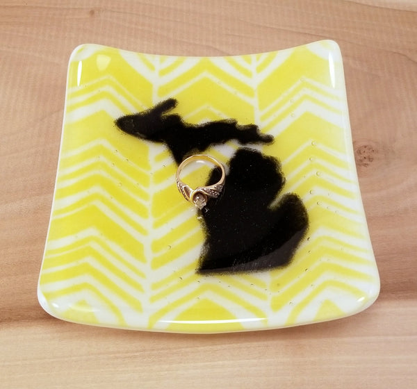 Fused Glass Yellow Chevron Pattern with Your State Square Dish - Cat Fly Designs