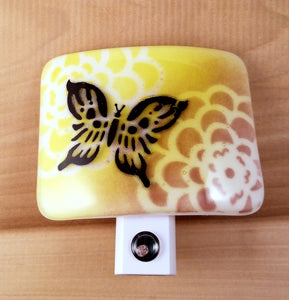 Fused Glass LED Nightlight with Black Butterfly Yellow and Purple Zinnia Flower