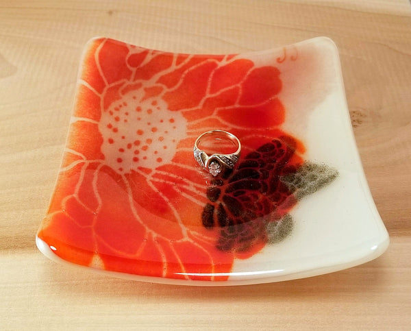 Fused Glass Brilliant Flower with Butterfly Square Dish - Cat Fly Designs