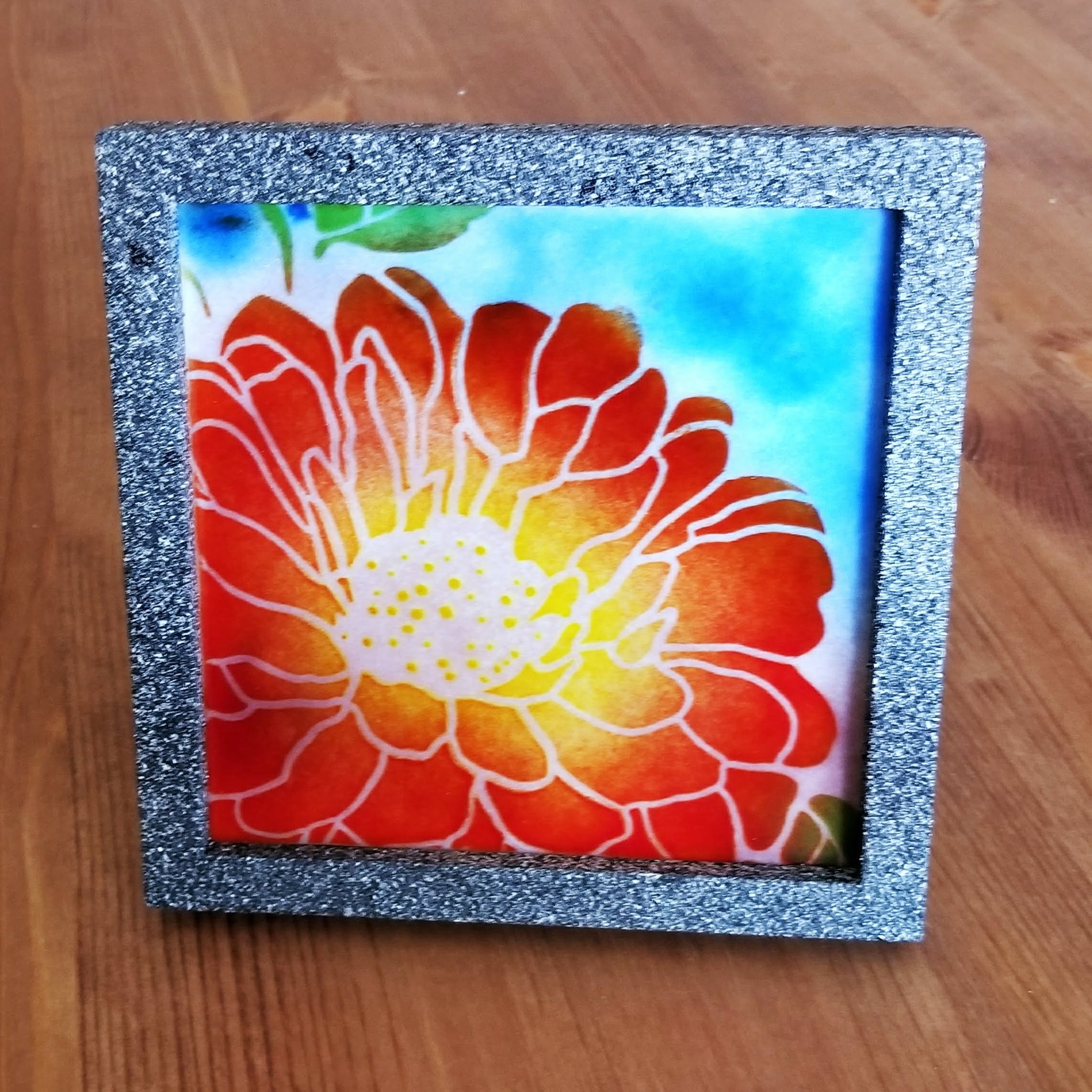 Fused Glass Multi Color Flower Tile in Painted Frame - Cat Fly Designs