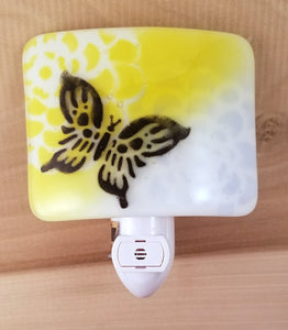 Fused Glass LED Night Light with Black Butterfly Yellow Purple Flower
