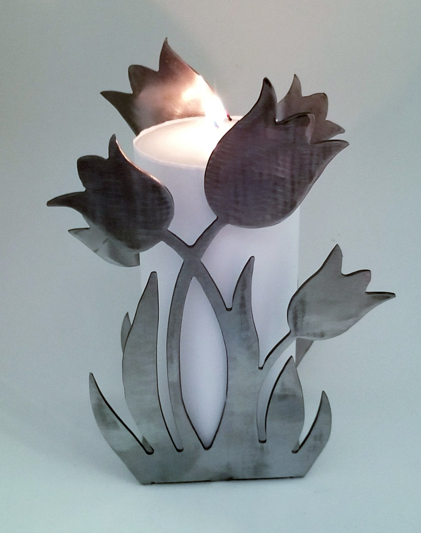 Spring Tulip Plasma Cut Metal Candle Holder, Book End, Plate or Napkin Holder - Cat Fly Designs