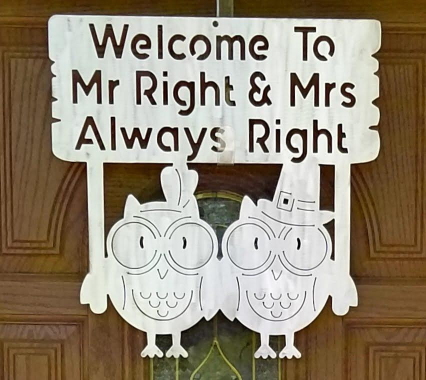 Mr. and Mrs. Right Owl Plasma Cut Metal Wall Hanging - Cat Fly Designs