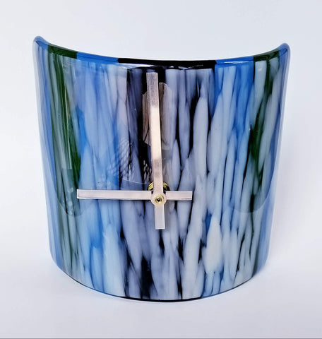 fused glass contemporary white royal blue black hunter green desk mantel clock