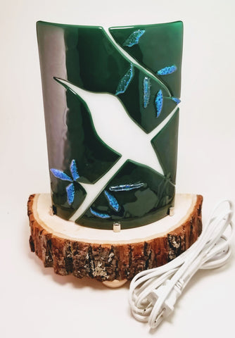 Fused Glass Bird silhouette with dichroic glass leaves table lamp