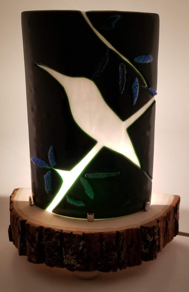 rustic green with bird silhouette night light