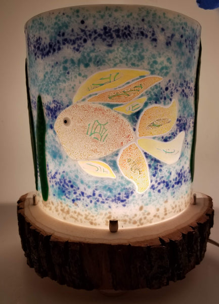 Fused glass dichroic fish table top night light lamp
