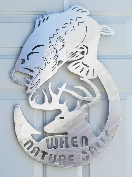 Bass Deer and Fish Hook Plasma Cut Metal Wall Hanging