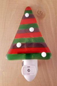 Red and Green Holiday Tree with White Ornaments Fused Glass LED Night Light