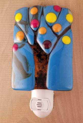 Autumn Tree Fused Glass LED Night Light