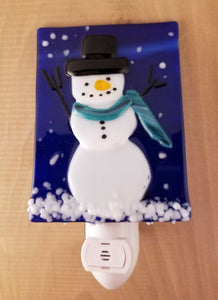 Snowman with Teal Scarf Fused Glass LED Night Light